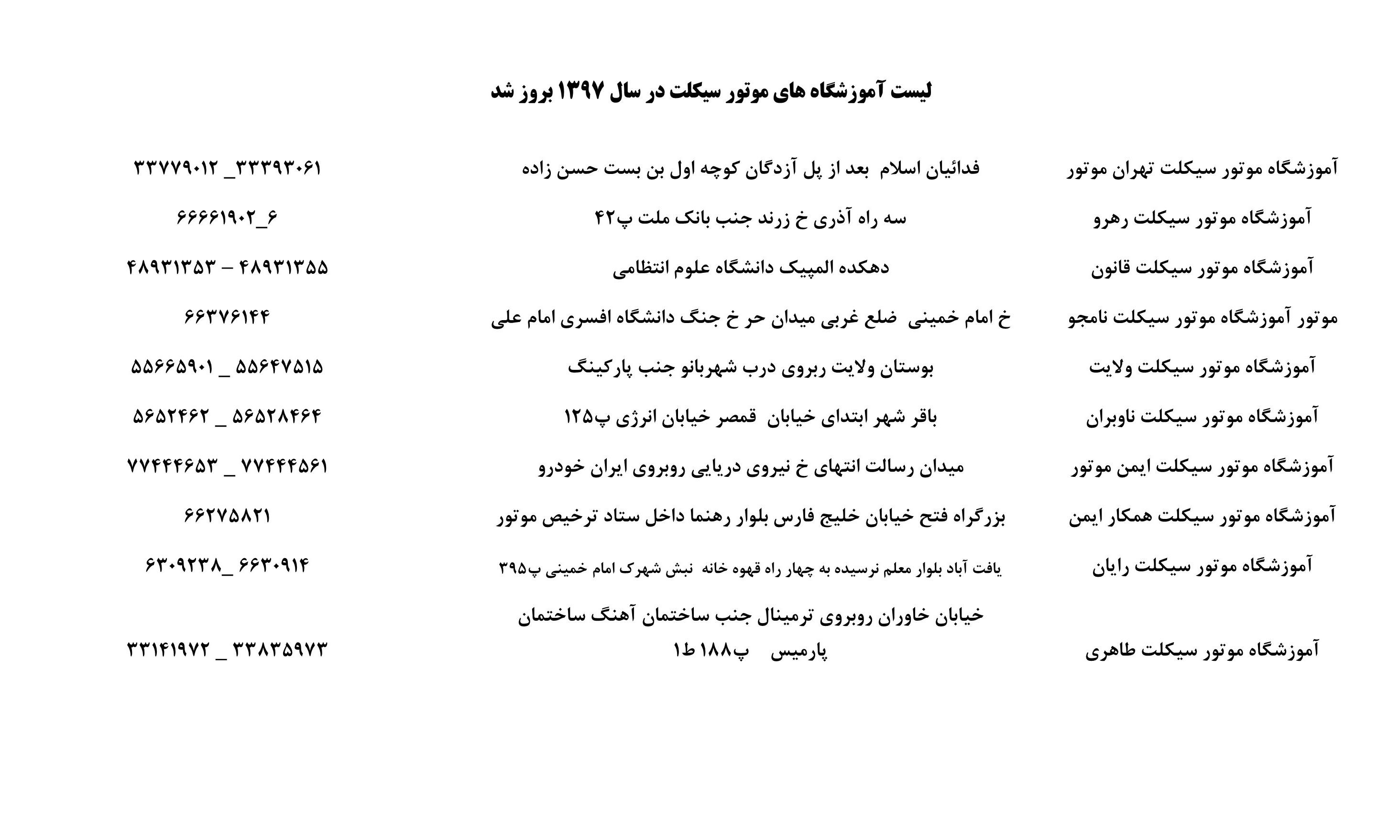 لیست آموزشگاه های موتور سیکلت تهران